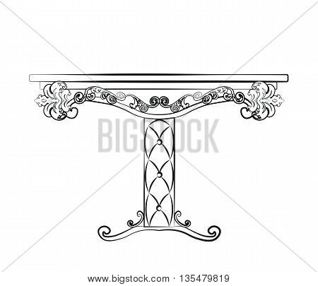 Elegant Table furniture quilted with leather ornamented in neoclassic style. Vector