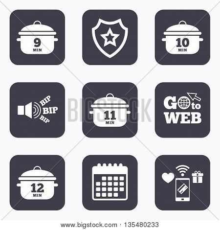 Mobile payments, wifi and calendar icons. Cooking pan icons. Boil 9, 10, 11 and 12 minutes signs. Stew food symbol. Go to web symbol.