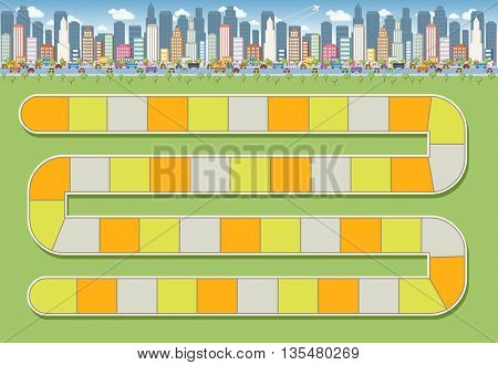 Board game with a block path on the city
