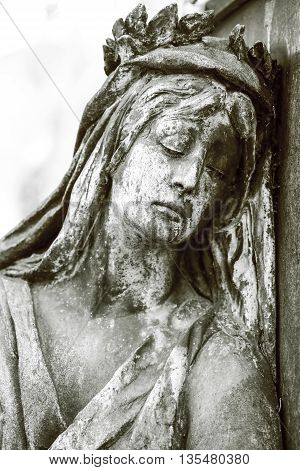 Black And White Shot Of Sad Woman Sculpture