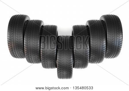 Wheels top view, isolated on white background with shadow 3d illustration.