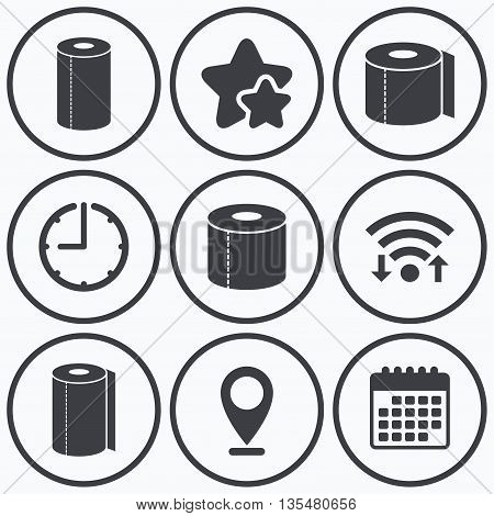 Clock, wifi and stars icons. Toilet paper icons. Kitchen roll towel symbols. WC paper signs. Calendar symbol.