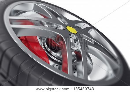 Car wheel close-up view with focus effect 3d illustration