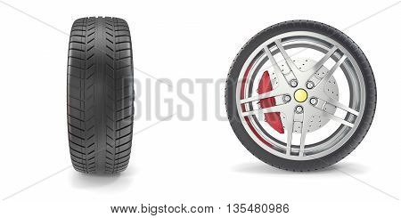 Chrome wheel with tires isolated on white background 3d illustration