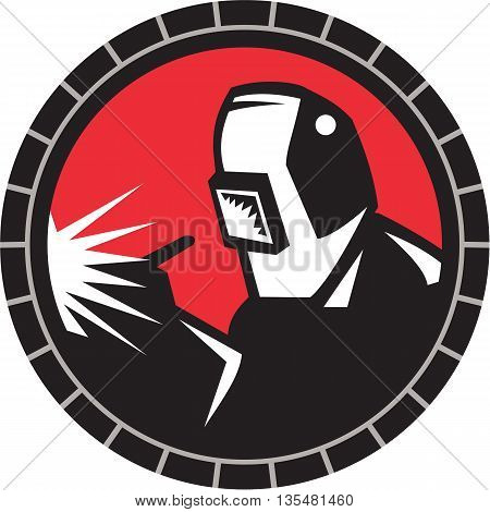 Illustration of welder arc worker with welding mask welding working viewed from front set inside circle on isolated background done in retro style.