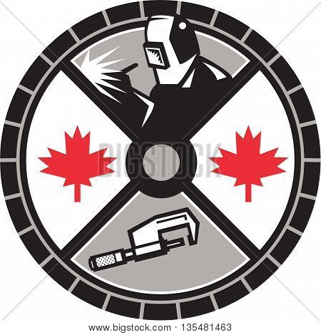 Illustration of a welder welding caliper and Canada maple leaf set inside circle done in retro style.