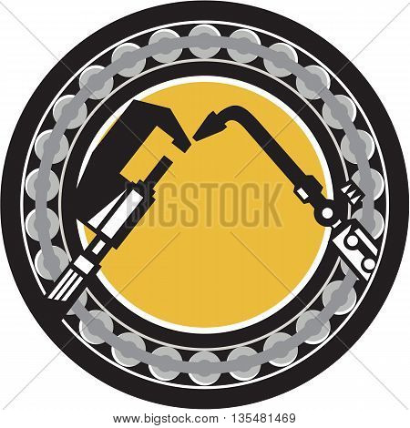 Illustration of a welding torch and caliper set inside ball bearing circle done on isolated background done in retro style.