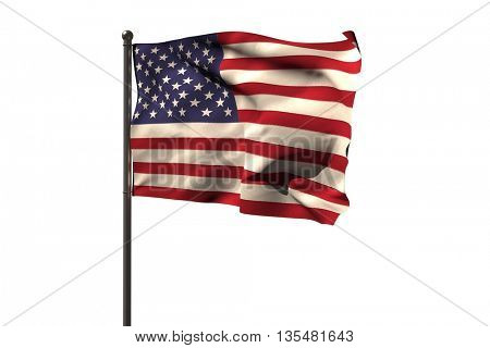 Pole with American flag against white background