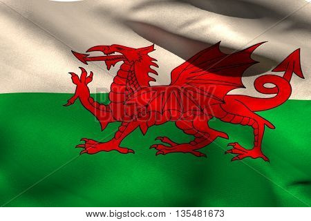 Wales flag against white background