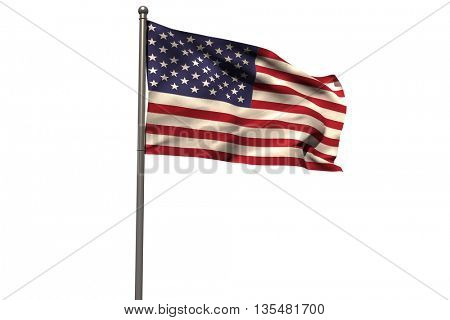 Pole with waving flag of America against white background
