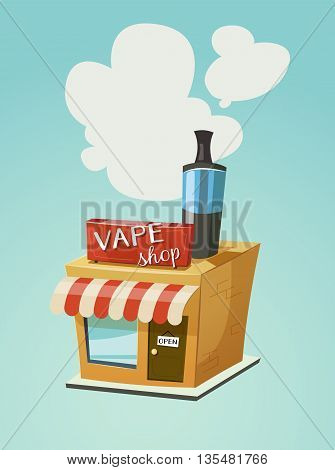 Vape shop store front with a cloud of vapor. Vector cartoon illustration for print and web. Stop smoking, start vaping.