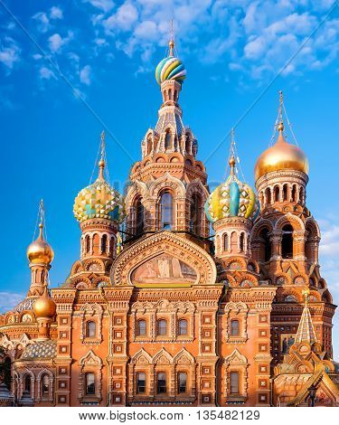 Church of the Resurrection (Savior on Spilled Blood). St. Petersburg Russia. Facade large panaromic view at morning sunlight