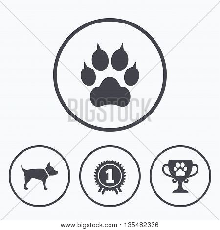 Pets icons. Cat paw with clutches sign. Winner cup and medal symbol. Dog silhouette. Icons in circles.