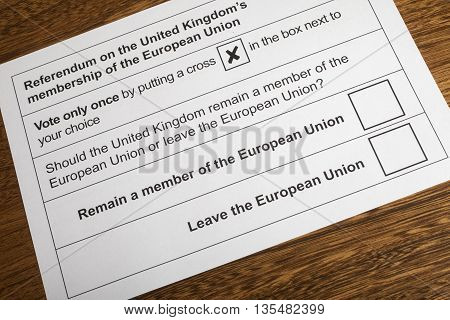 LONDON UK - JUNE 13TH 2016: The EU Referendum Ballot Paper - a chance for the UK to vote on if they would like to remain in the European Union or Leave the European Union taken on 13th June 2016.