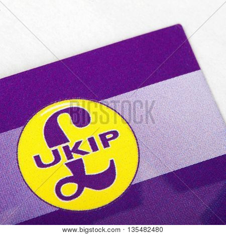 LONDON UK - JUNE 13TH 2016: A close-up of the symbol of the UK Independence Party on a leaflet taken in London on 13th June 2016.