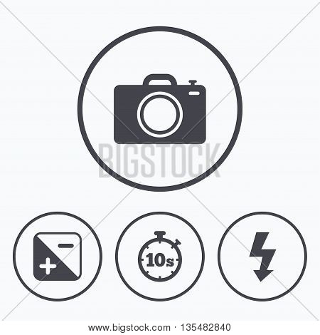 Photo camera icon. Flash light and exposure symbols. Stopwatch timer 10 seconds sign. Icons in circles.
