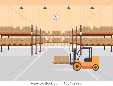 Warehouse interior load boxes and pallet on shelves Industrial warehouse with forklift delivery and bar code scannervector illustration