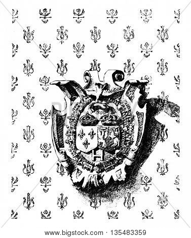 Emblem showing the  joined crowns of France and Poland on the wall of the square tower. Vintage engraving.