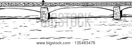 Outline Of Person On Bridge Over Water
