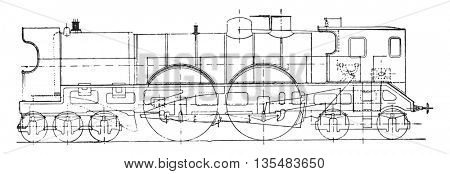Thuile locomotive, vintage engraved illustration. Industrial encyclopedia E.-O. Lami - 1875.