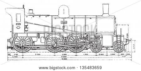 Machine has three axles and the bogie couples, the Western Railway, vintage engraved illustration. Industrial encyclopedia E.-O. Lami - 1875.