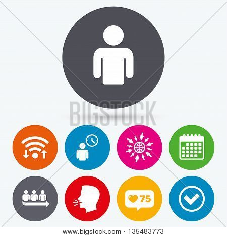 Wifi, like counter and calendar icons. Queue icon. Person waiting sign. Check or Tick and time clock symbols. Human talk, go to web.