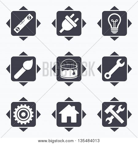 Icons with direction arrows. Repair, construction icons. Hammer, wrench tool and cogwheel signs. Electric plug, lamp and house symbols. Square buttons.