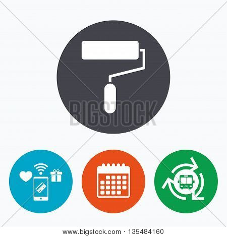 Paint roller sign icon. Painting tool symbol. Mobile payments, calendar and wifi icons. Bus shuttle.