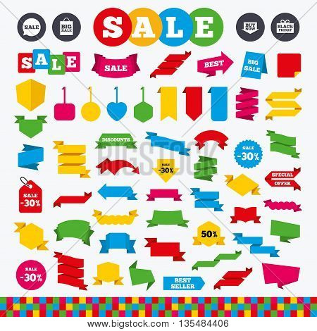 Banners, web stickers and labels. Sale speech bubble icons. Buy now arrow symbols. Black friday gift box signs. Big sale shopping bag. Price tags set.