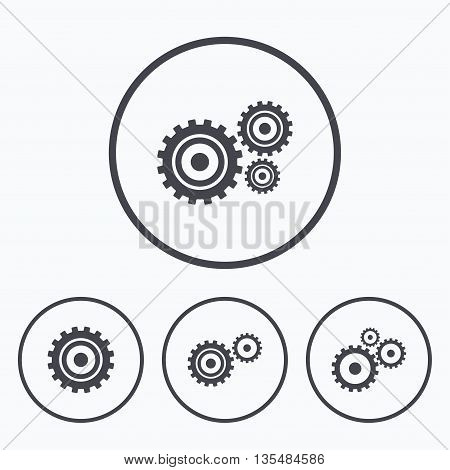 Cogwheel gear icons. Mechanism symbol. Website or App settings sign. Working process performance. Icons in circles.