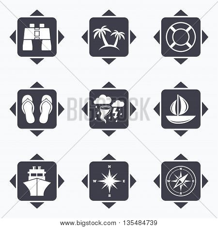 Icons with direction arrows. Cruise trip, ship and yacht icons. Travel, lifebuoy and palm trees signs. Binoculars, windrose and storm symbols. Square buttons.