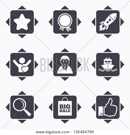 Icons with direction arrows. Online shopping, e-commerce and business icons. Start up, award and customers like signs. Big sale, shipment and favorite symbols. Square buttons.