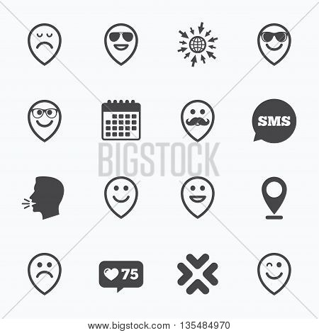 Calendar, go to web and like counter. Smile pointers icons. Happy, sad and wink faces signs. Sunglasses, mustache and laughing lol smiley symbols. Sms speech bubble, talk symbols.