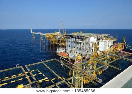 The offshore oil rig platform in the gulf of Thailand.