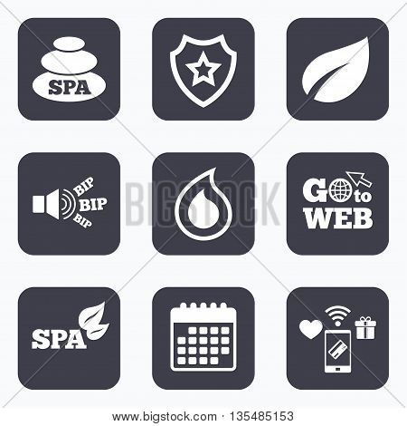Mobile payments, wifi and calendar icons. Spa stones icons. Water drop with leaf symbols. Natural tear sign. Go to web symbol.