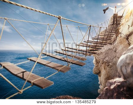 3D Rendering of Man rejoices at the end of the crumbling bridge