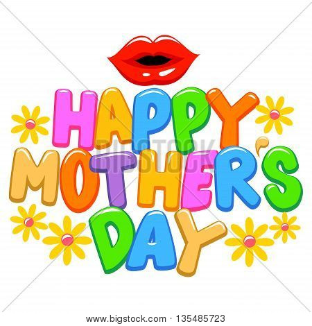 Vector Illustration of Happy Mothers Day Letter Greetings