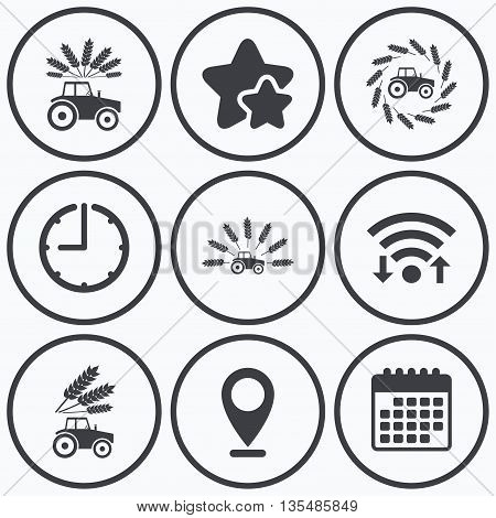 Clock, wifi and stars icons. Tractor icons. Wreath of Wheat corn signs. Agricultural industry transport symbols. Calendar symbol.