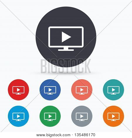 Widescreen TV mode sign icon. Television set. Flat tV mode icon. Simple design tV mode symbol. TV mode graphic element. Circle buttons with tV mode icon. Vector