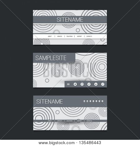 Web Design Elements - Header Design Set with Black and White Abstract Vintage Style Background Pattern