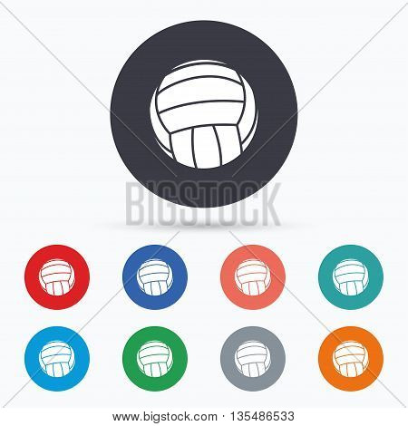Volleyball sign icon. Beach sport symbol. Flat volleyball icon. Simple design volleyball symbol. Volleyball graphic element. Circle buttons with volleyball icon. Vector