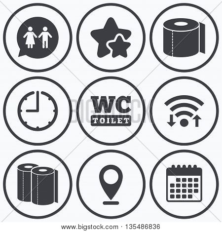 Clock, wifi and stars icons. Toilet paper icons. Gents and ladies room signs. Paper towel or kitchen roll. Man and woman symbols. Calendar symbol.