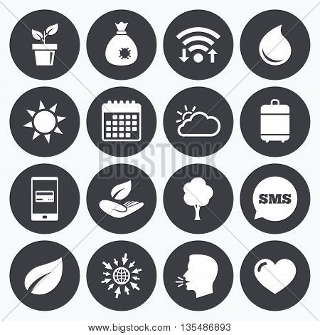 Wifi, calendar and mobile payments. Garden sprout, leaf icons. Nature and weather signs. Sun, cloud and tree symbols. Sms speech bubble, go to web symbols.