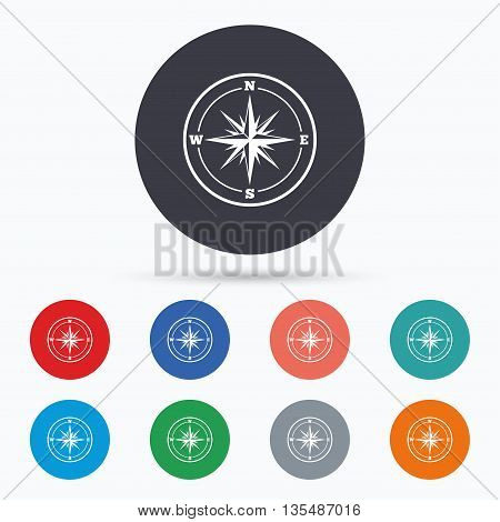 Compass sign icon. Windrose navigation symbol. Flat windrose compass icon. Simple design windrose compass symbol. Windrose compass graphic element. Circle buttons with windrose compass icon. Vector
