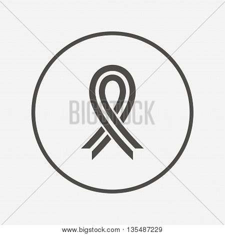 Ribbon sign icon. Breast cancer awareness symbol Flat awareness ribbon icon. Simple design awareness ribbon symbol. Awareness ribbon graphic element. Round button with flat awareness ribbon icon. Vector