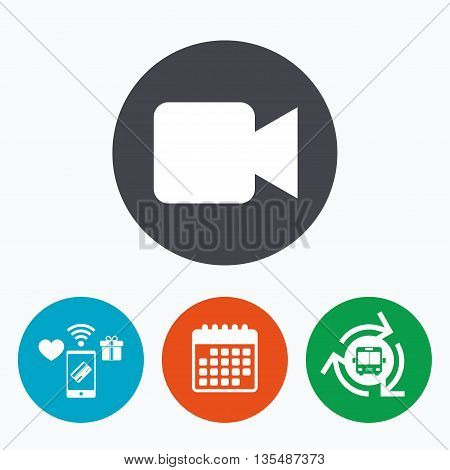 Video camera sign icon. Video content button. Mobile payments, calendar and wifi icons. Bus shuttle.