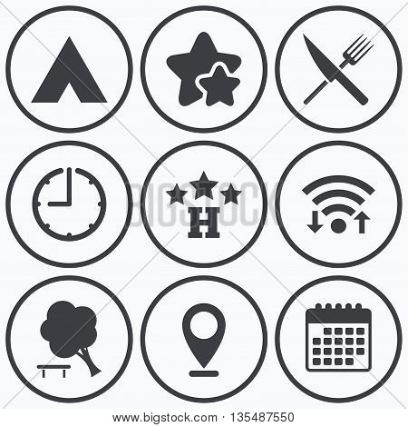 Clock, wifi and stars icons. Food, hotel, camping tent and tree icons. Knife and fork. Break down tree. Road signs. Calendar symbol.