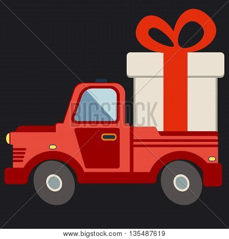 Delivery flat transport truck van with gift box pack on black. Product goods shipping transport vector illustration.