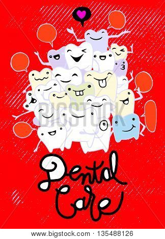 Hand Drawing Set Of Small Funny Teeth Characters Scenes