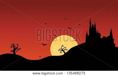 Silhouette of Halloween castle scenery at afternoon